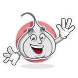 De mascotte van het groetknoflook, knoflookkarakter, knoflookbeeldverhaal Stock Foto