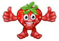 De Mascotte van het het Beeldverhaalkarakter van het aardbeifruit Stock Foto