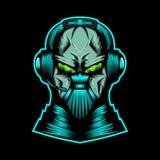 De mascotte vectorillustratie van de monsterhoofdtelefoon royalty-vrije illustratie