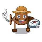 De mascottebeeldverhaal van de ontdekkingsreiziger concrete mixer royalty-vrije illustratie