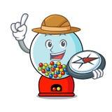 De mascottebeeldverhaal van de ontdekkingsreiziger gumball machine stock illustratie