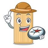 De mascottebeeldverhaal van de ontdekkingsreiziger houten scherp raad vector illustratie