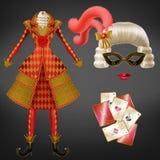 De maskerade van de vrouw, Carnaval-kostuum realistische vector royalty-vrije illustratie