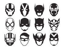 De Maskers van de beeldverhaalheld op Witte Achtergrond worden geïsoleerd die royalty-vrije illustratie