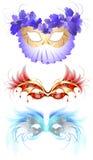 De maskers van Carnaval met veren stock illustratie