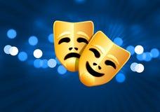 De maskers van de komedie en van de tragedie op blauwe gloedachtergrond Stock Foto's