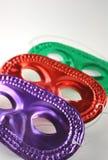 De maskers van de partij, reeks van 3 op witte achtergrond Stock Foto's