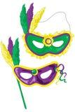 De maskers van Gras van Mardi Stock Afbeelding
