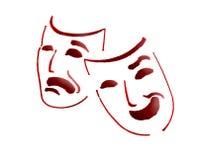 De maskers van het theater Stock Foto's