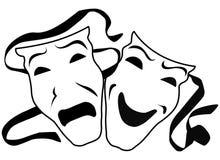 De Maskers van het theater Stock Foto