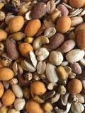 De massa mengde noten, amandelen, noten, pinda's, geroosterde kastanjes, kaju enz. stock foto