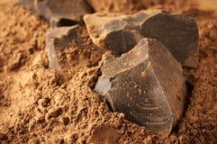 De massa van de cacao en cacaopoeder Stock Afbeelding
