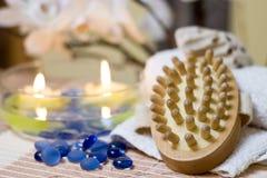 De massageborstel van het kuuroord stock fotografie
