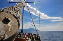 De mast van het schip, dat Athos gaat opzetten stock foto
