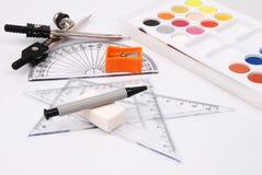 De materialen van de tekening Stock Afbeeldingen