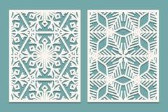 De matrijs en de laser snijden sierpanelen met sneeuwvlokkenpatroon Laser die de decoratieve patronen van kantgrenzen snijden Ree stock illustratie