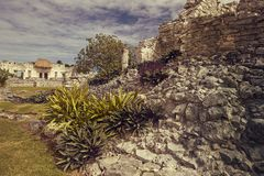 De Mayan ruïnes in Tulum stock fotografie