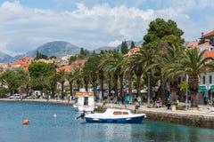 3 de mayo de 2019, Cavtat, Croacia Puerto deportivo y palmas fotografía de archivo libre de regalías