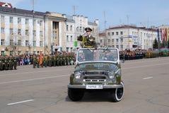 9 de mayo comandante del desfile Fotos de archivo libres de regalías