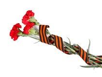 9 de mayo concepto Postal para Victory Day en gran guerra patriótica en la cinta de Rusia San Jorge y claveles la vida roja del 9 Fotografía de archivo