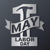 1 DE MAYO Día del Trabajo Vector el ejemplo con el texto metálico en un fondo oscuro ilustración del vector