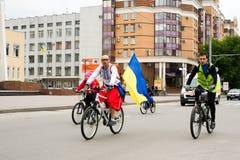 30 de mayo de 2015: Poltava ucrania Desfile de ciclo de la bici Imagen de archivo libre de regalías