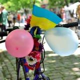 16 de mayo de 2015: Poltava ucrania Desfile de ciclo de la bici del ` s de las mujeres Imagen de archivo libre de regalías