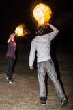 3 de mayo de 2014 Ulán Udé, Rusia: una demostración del fuego en la ciudad de Ulan-U Foto de archivo libre de regalías