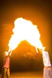 3 de mayo de 2014 Ulán Udé, Rusia: una demostración del fuego en la ciudad de Ulan-U Fotografía de archivo libre de regalías