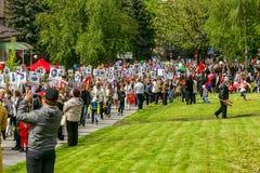 9 de mayo Demostración del día de fiesta Regimiento inmortal Foto de archivo