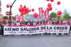 1 de mayo demostración en Gijón, España Fotos de archivo libres de regalías