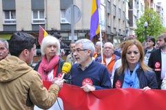 1 de mayo demostración en Gijón, España Fotografía de archivo
