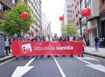 1 de mayo demostración en Gijón, España Imagen de archivo