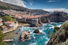 5 de mayo de 2019, Dubrovnik, Croacia Vieja configuraci?n de la ciudad foto de archivo libre de regalías
