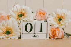 1 de mayo la imagen de puede 1 calendario de bloque blanco en el fondo blanco Fotos de archivo libres de regalías