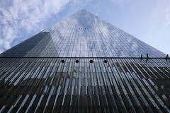 23 DE MAYO DE 2019 - Nueva York, Estados Unidos: One World Trade Center, Freedom Tower, New York City, Estados Unidos Lo del Worl imagen de archivo