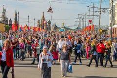 9 de mayo regimiento del Immortal de Moscú Imagen de archivo libre de regalías