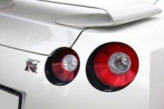 5 de mayo de 2017; Ucrania, Kiev Luces de la cola de Nissan GT-R fotografía de archivo