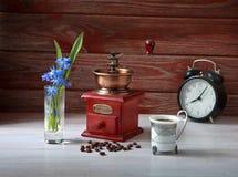 De mechanische koffiemolen met koffie Royalty-vrije Stock Afbeeldingen