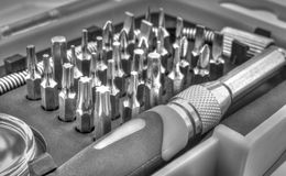 De mechanische reeks van het beetjehulpmiddel in zwart-wit Stock Foto's