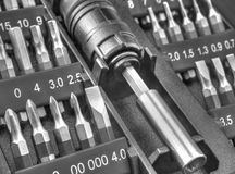 De mechanische reeks van het beetjehulpmiddel in zwart-wit Royalty-vrije Stock Foto