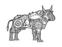 De mechanische vector van de stieren dierlijke gravure royalty-vrije illustratie