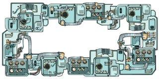 De mechanismen en de machines van Cyberpunkrobots Details van spacecr vector illustratie
