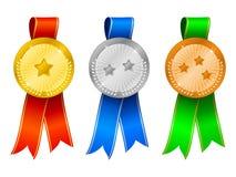 De medailles plaatsen 6 Stock Foto's