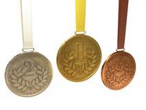 De medailles van het goud, van het zilver en van het brons Stock Fotografie
