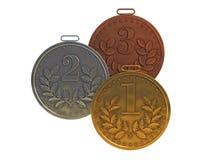 De medailles van het goud, van het zilver en van het brons Stock Afbeelding