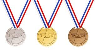 De medailles van het goud, van het Zilver en van het Brons Stock Foto