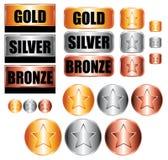 De medailles van het goud, van het zilver en van het brons Stock Foto's