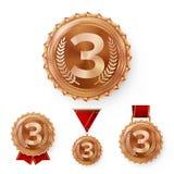 De Medailles van het kampioensbrons Geplaatst Vector De Winnaarvoltooiing van de metaal Realistische 3de Plaatsing Nummer drie Ro Stock Fotografie