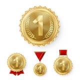 De Medailles van het kampioensbrons Geplaatst Vector De Winnaarvoltooiing van de metaal Realistische 3de Plaatsing Nummer drie Ro Royalty-vrije Stock Foto's